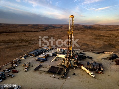 Desolate drilling rig in West Texas at the Golden Hour