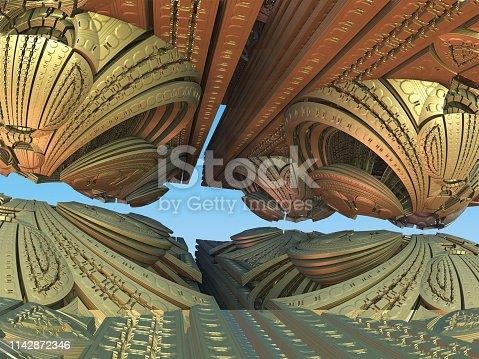 istock Fractal 3D background, abstract 3D illustration, element for design 1142872346