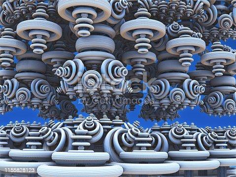 istock Fractal 3D background, abstract 3D illustration, element for design 1155828123