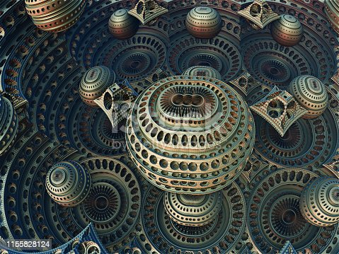 istock Fractal 3D background, abstract 3D illustration, element for design 1155828124