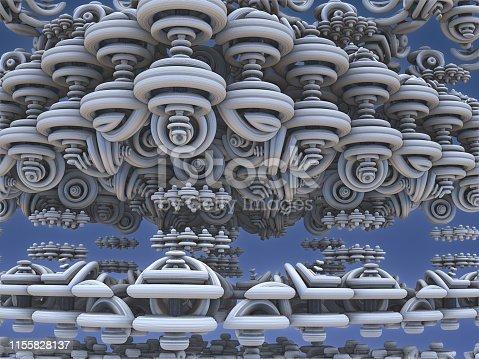 istock Fractal 3D background, abstract 3D illustration, element for design 1155828137