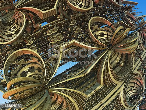 istock Fractal 3D background, abstract 3D illustration, element for design 1155828252