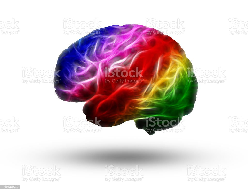 Fractal colorful brain stock photo