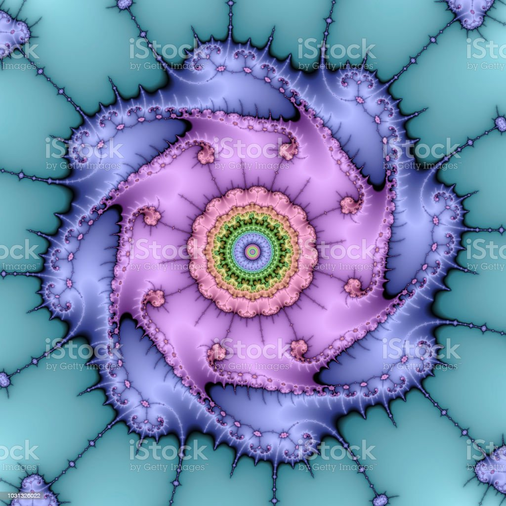 Fractal deep zoom design pretty in pastel colours stock photo
