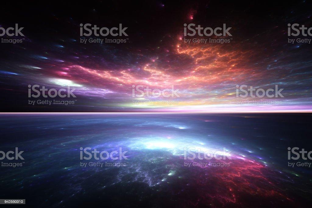 Fractal horizon: alien sea and sky stock photo