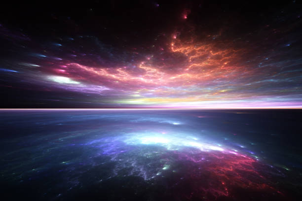 horizon de fractale: alien, ciel et mer - galaxie photos et images de collection