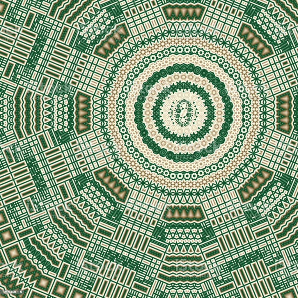 Fractal North American Indian design in greens and browns stock photo