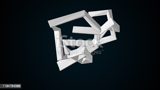 Fractal simple element, computer generated background. 3d rendering of abstract shape