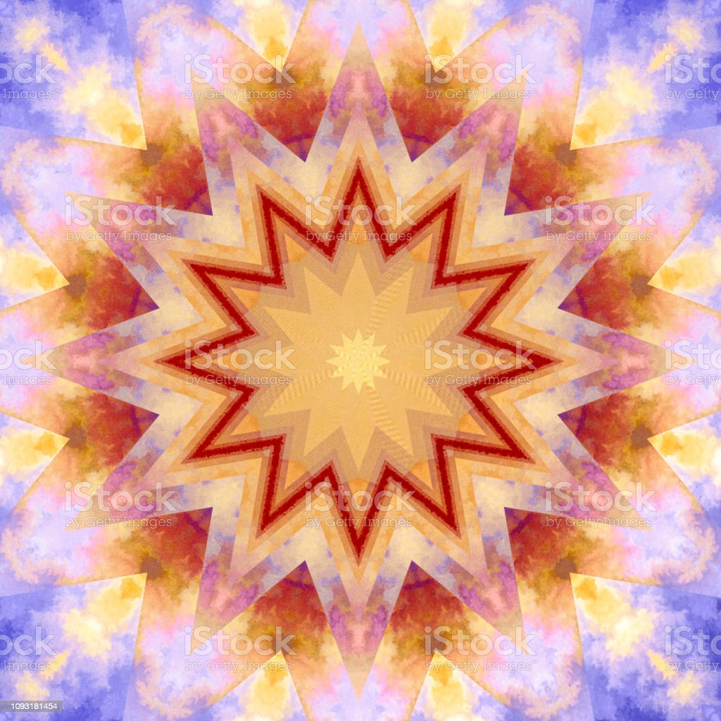 Fractal star explosion in blue pink sky square format stock photo