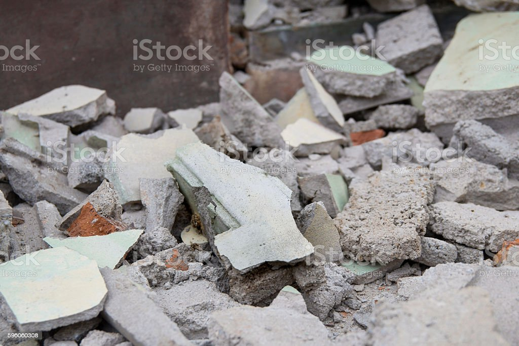 Fraction of cement building collapse(selective focus) royalty-free stock photo