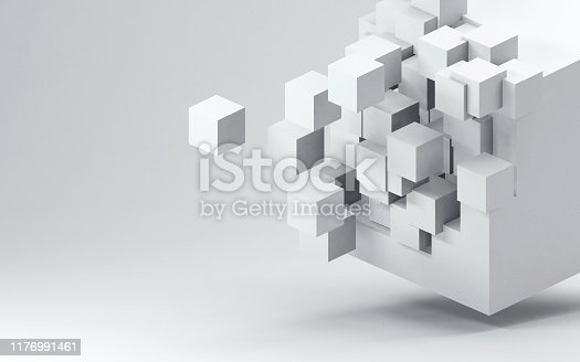 Fractured 3D cube render against light gray background