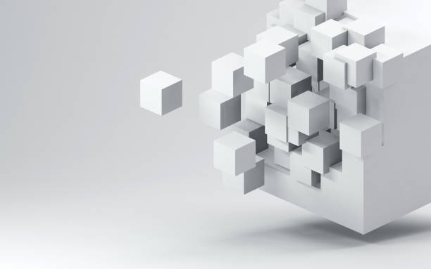Fractured 3D cube render against light gray background stock photo
