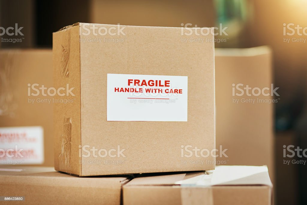 Fragile contents inside stock photo