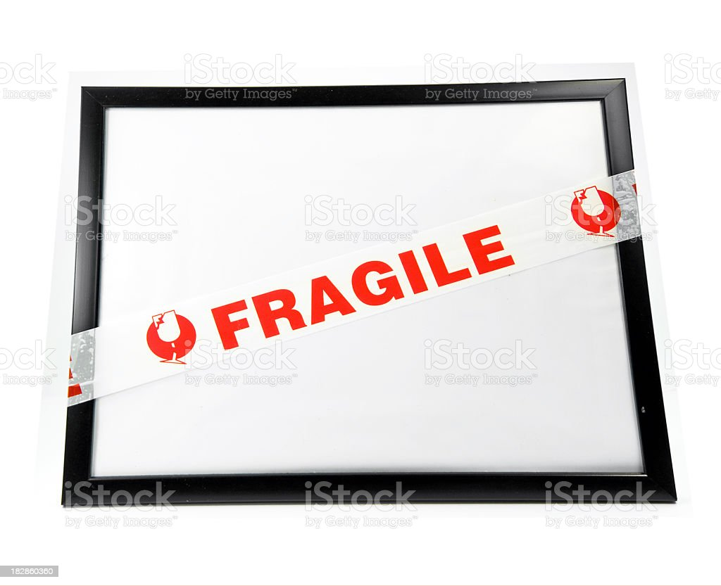 Fragile on Picture Frame stock photo