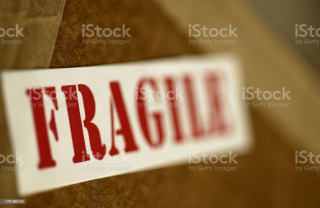 Fragile sign on box stock photo