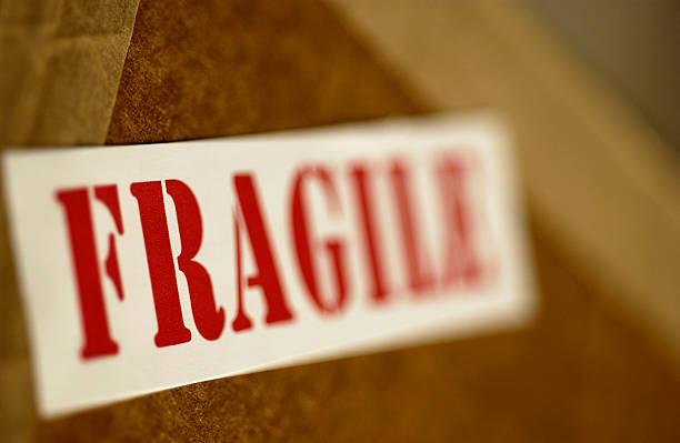Fragile sign on box stock photo