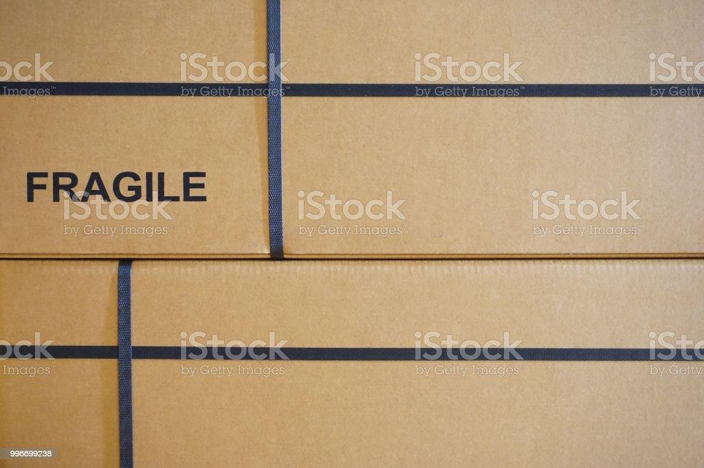 close up fragile text print on box