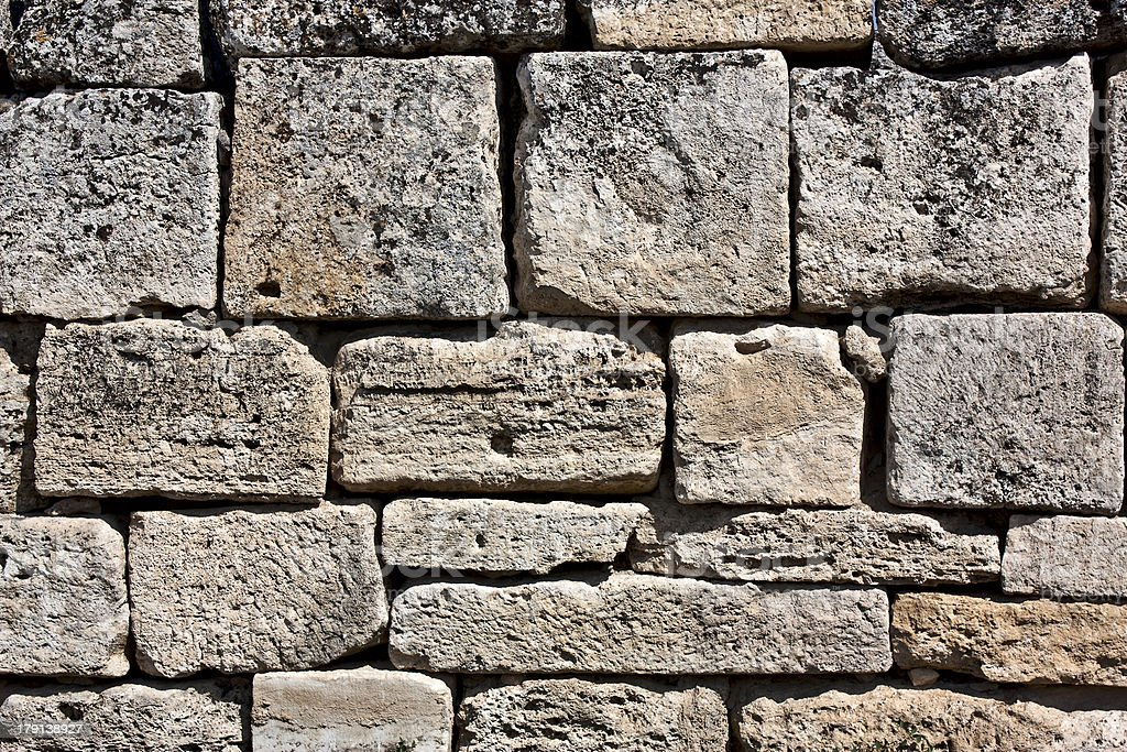 Fragment  a wall of an antique city Hierapolis royalty-free stock photo