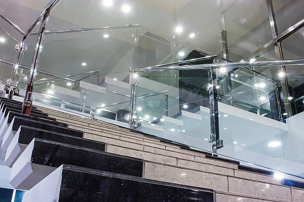 fragment  corridor hotel with  ladder interior - wandleuchte treppenhaus stock-fotos und bilder