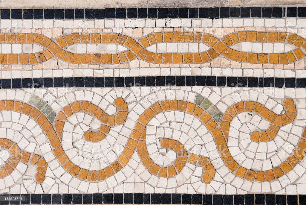 Fragment of a ancient roman mosaic royalty-free stock photo