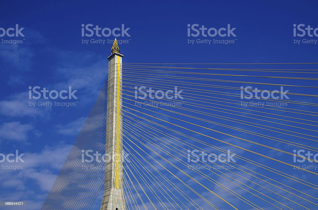 Fragment of a cable stayed bridge on blue the sky royalty-free stock photo