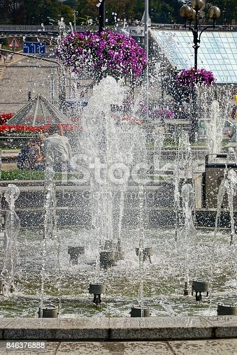 istock fragment of a city fountain with splashes and water on a sunny day 846376888
