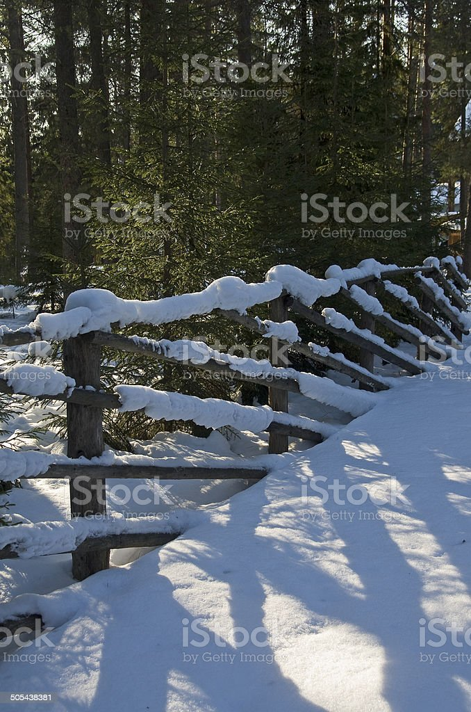 Fragment of a snow-covered fence. royalty-free stock photo