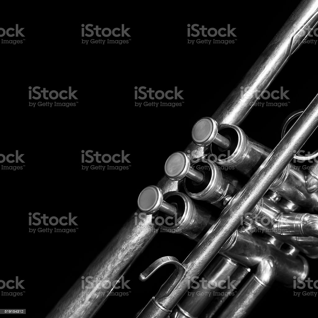 Fragment of a trumpet stock photo