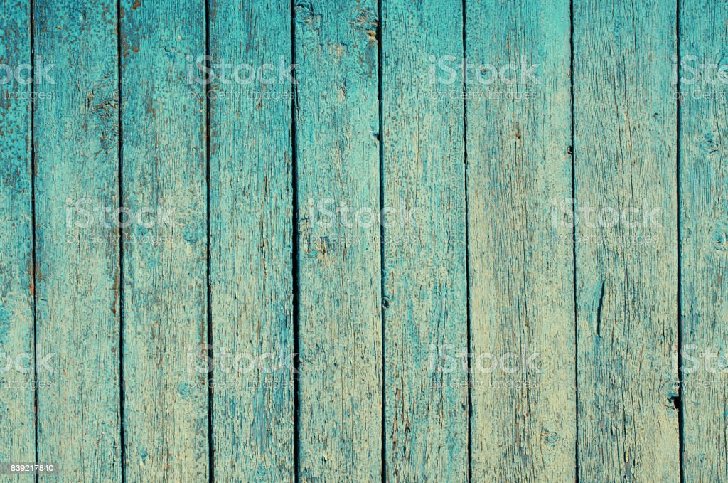Fragment of an old fence. Cracked cyan paint texture. Shabby aquamarine paint wooden planks background. stock photo