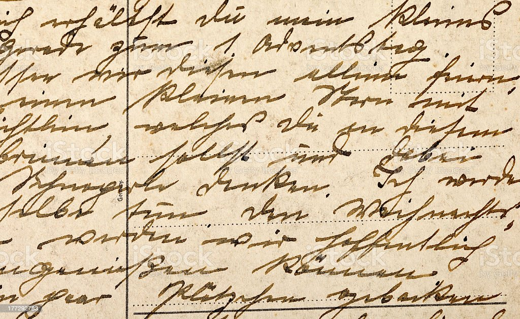 Fragment of an old handwritten letter royalty-free stock photo