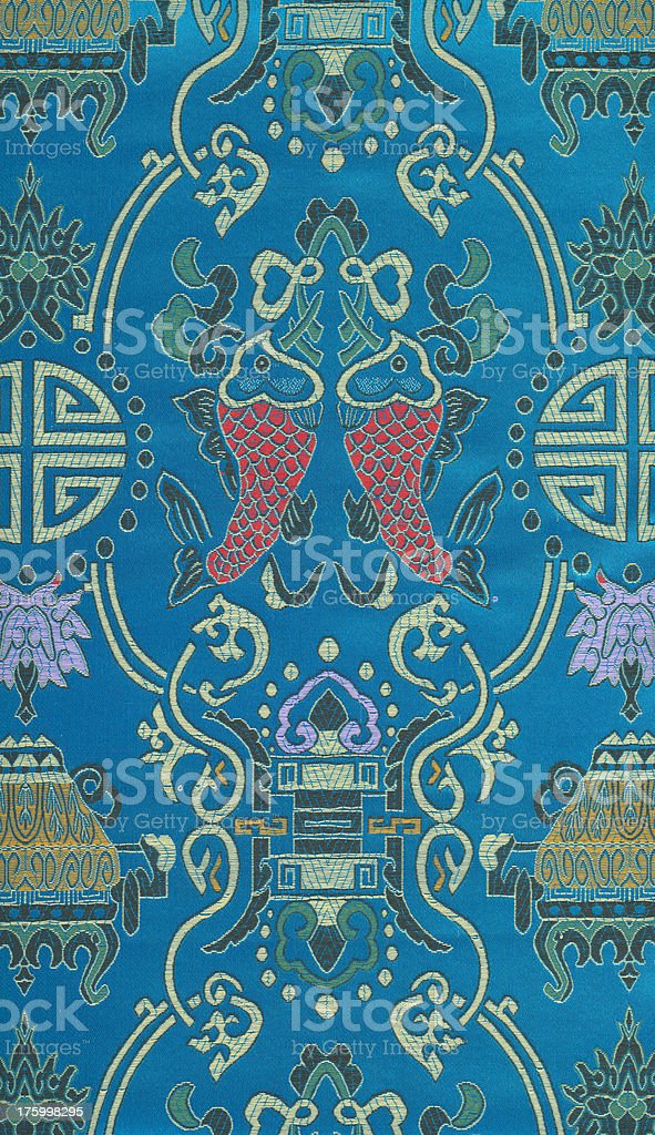 Fragment of an ornament (the Chinese silk) royalty-free stock photo