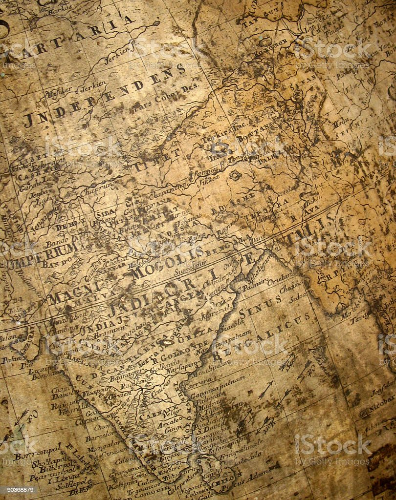 fragment of ancient map royalty-free stock photo