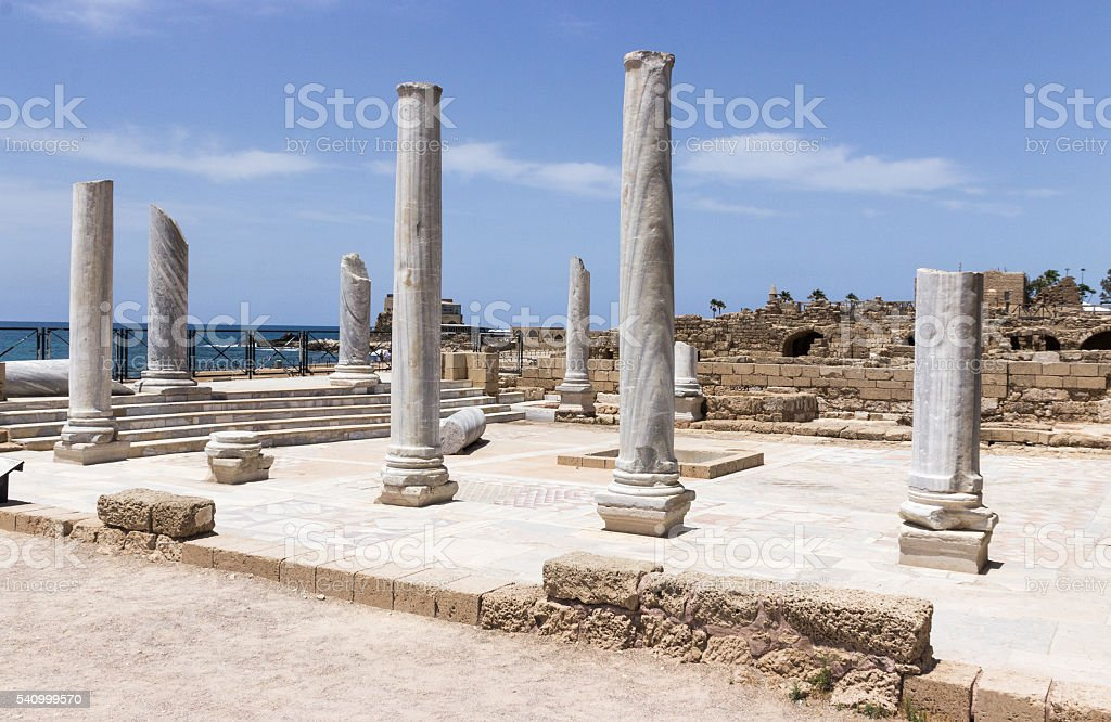 Fragment of buildings inside in the ruined city stock photo