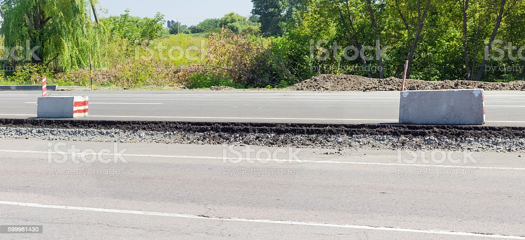 Fragment of carriageway layers during of a road repair stock photo