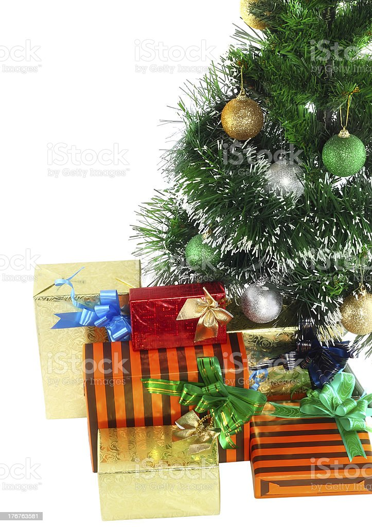 Fragment of Christmas and  New Year Tree. royalty-free stock photo