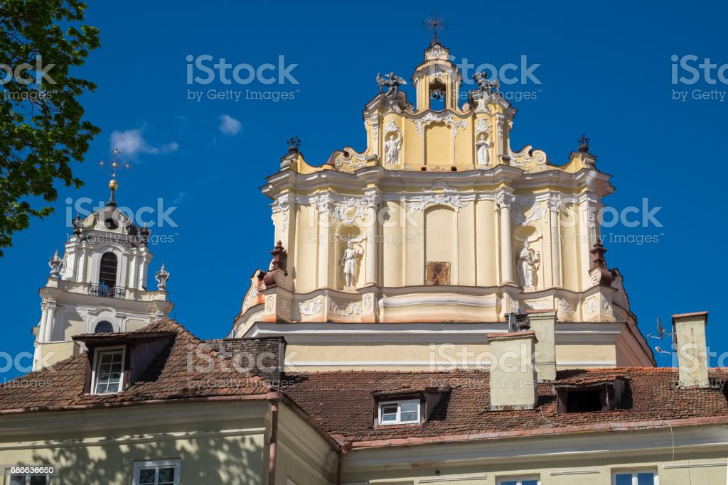 Fragment of Church of St. Johns and bell tower. Vilnius, Lithuania. royalty-free stock photo