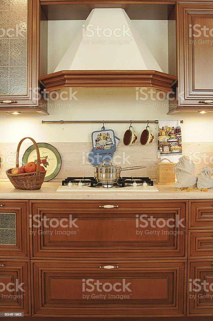 fragment of classic kitchen royalty-free stock photo