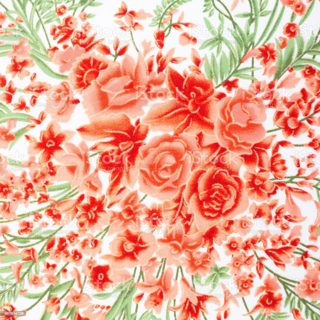 Fragment of colorful retro tapestry textile pattern with floral ornament useful as background stock photo