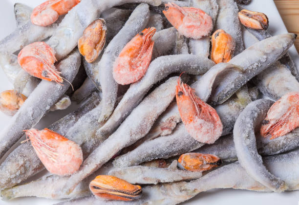 fragmento de prato com congelados vários alimentos do mar - comida congelada - fotografias e filmes do acervo