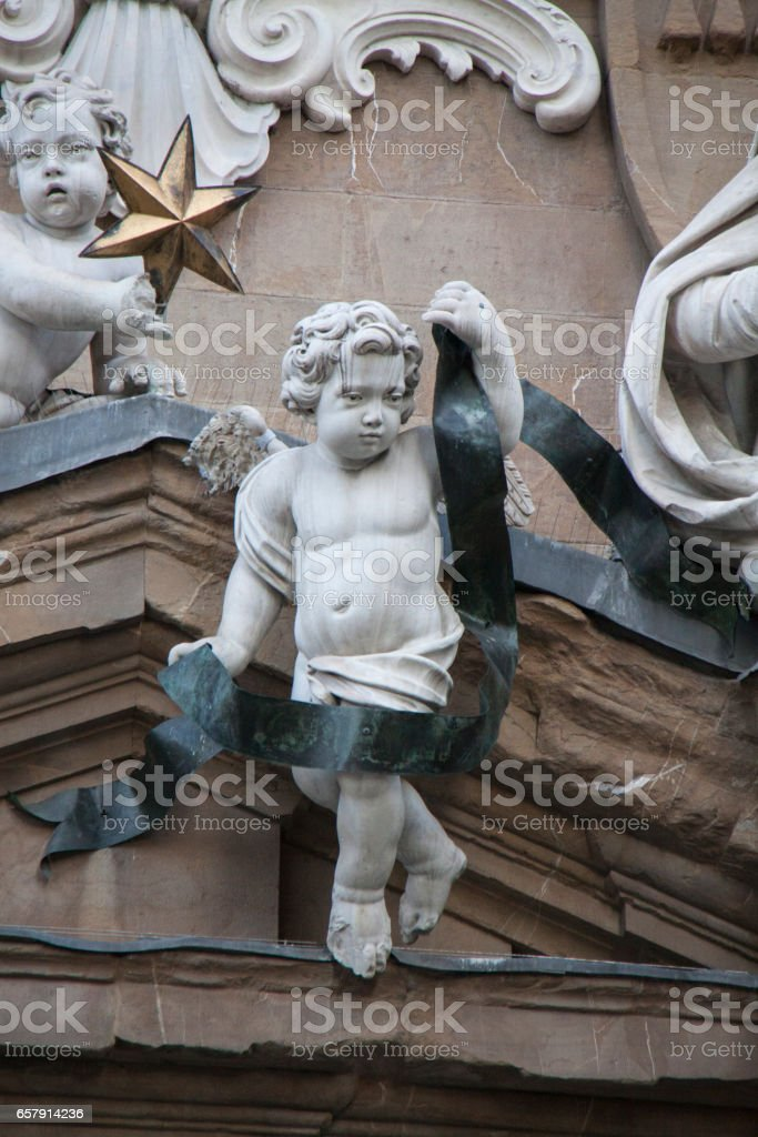 Fragment of Facade of Complesso di San Firenze, Florence, Italy stock photo