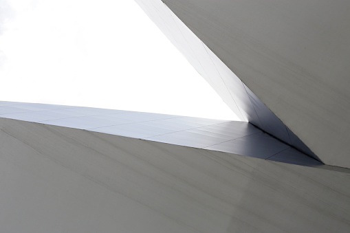 Fragment Of Futuristic Minimalist Business Architecture Sharp Angle Corner Of Public Or Office Building Viewed From Below Digitally Rendered Abstract Geometric Background With Copy Space Stock Photo Download Image Now Istock