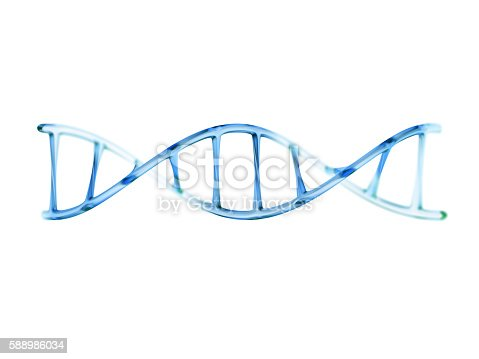 istock fragment of human DNA molecule, 3d illustration isolated on whit 588986034