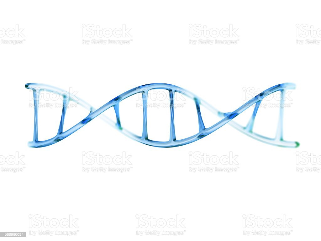 fragment of human DNA molecule, 3d illustration isolated on whit - foto de stock