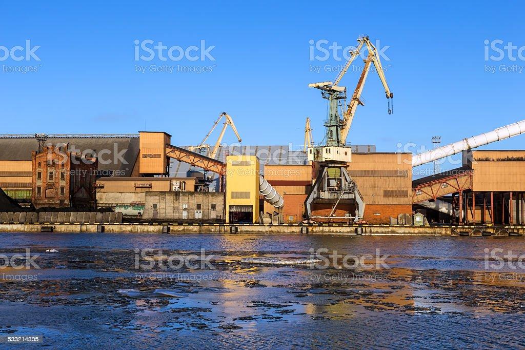 fragment of ice-free seaport stock photo