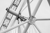 London, United Kingdom - October 31, 2017: Fragment of London Eye giant Ferris wheel structure, abstract black and white photo