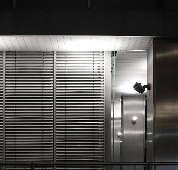Fragment of modern architecture with jalousie / blinds / shutters - foto de stock