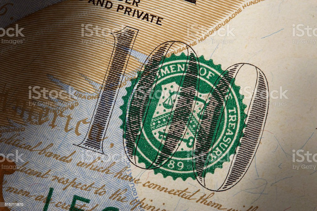 Fragment of new 100 US dollar banknote stock photo
