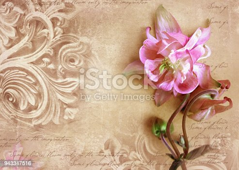 istock Fragment of ornate relief with flower. 943347516