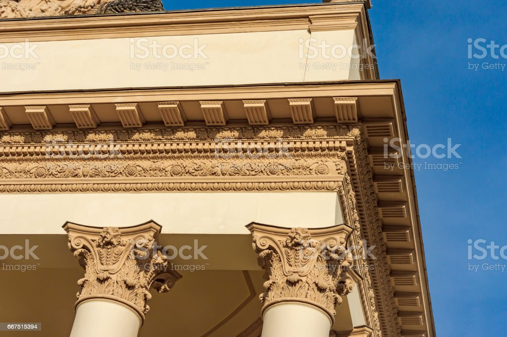 Moscow, Russia - April 09, 2017: A fragment of Pavilion at VDNKh. A sample of the architectural style of the Soviet period foto stock royalty-free