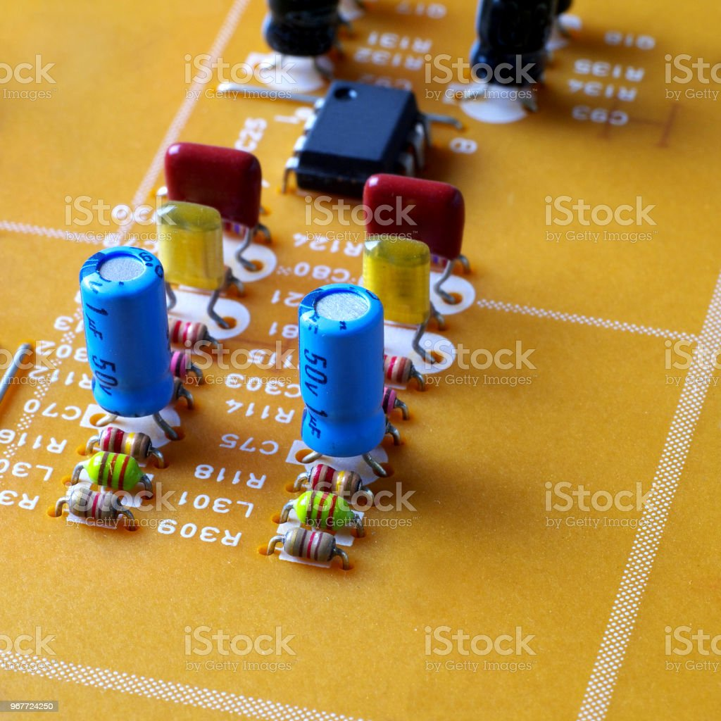 Fragment Of Printed Circuit Board With Electronic Components Mounted Royalty Free Stock Photos Image On It Macro